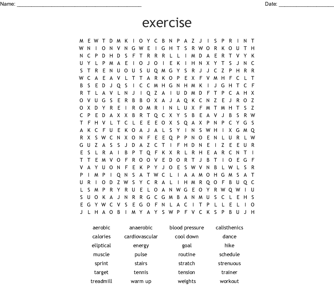 Exercise Word Search