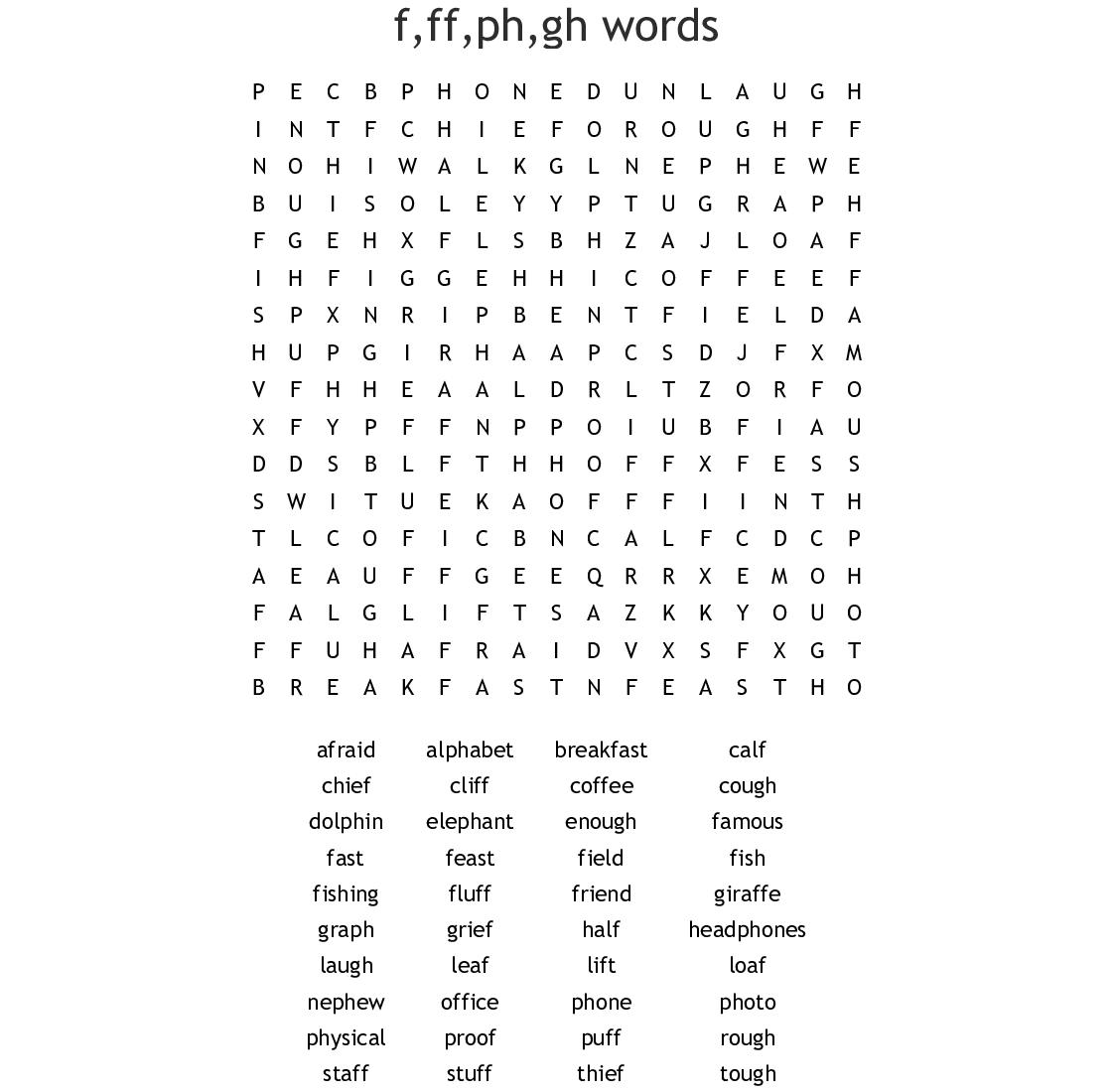 F Ff Ph Gh Words Word Search