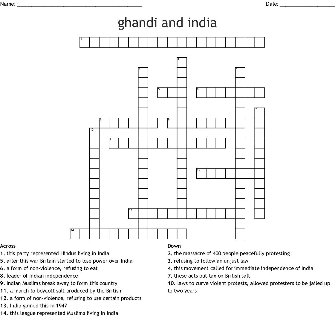 Mahatma Gandhi Crossword