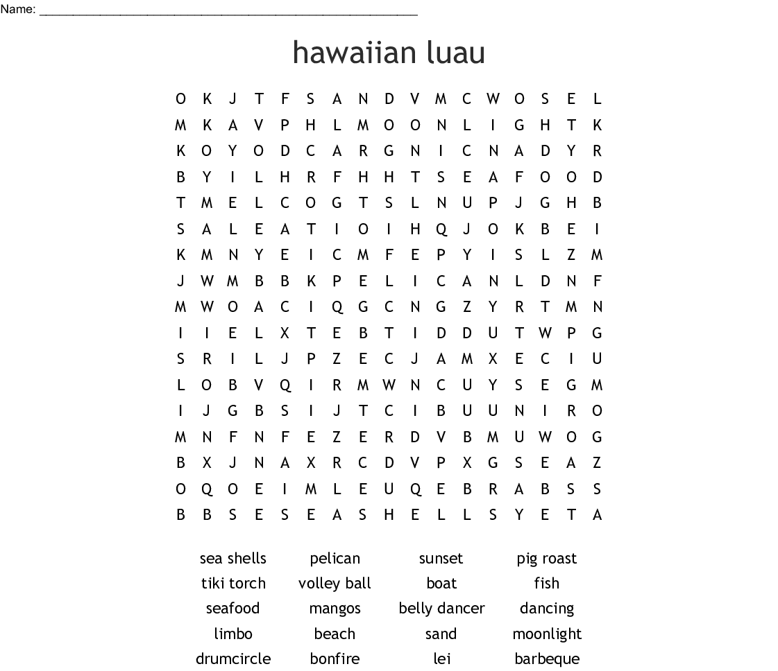 Hawaiian Luau Word Search