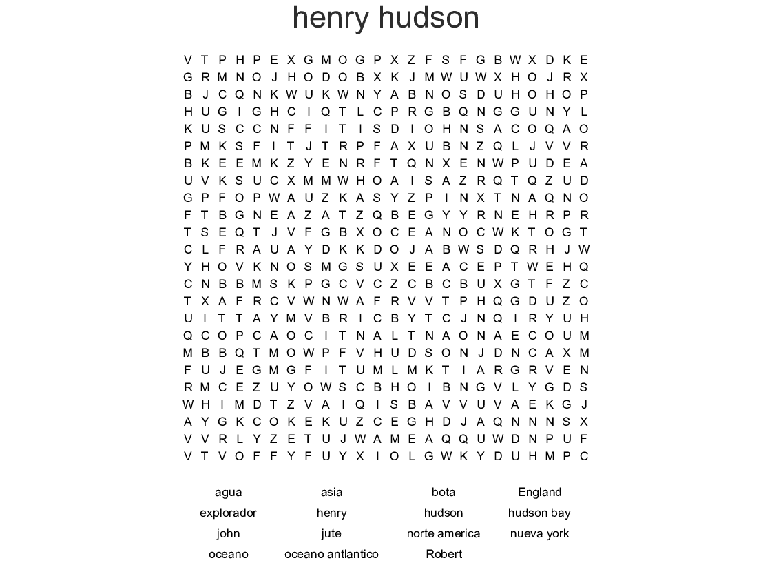 Henry Hudson Word Search