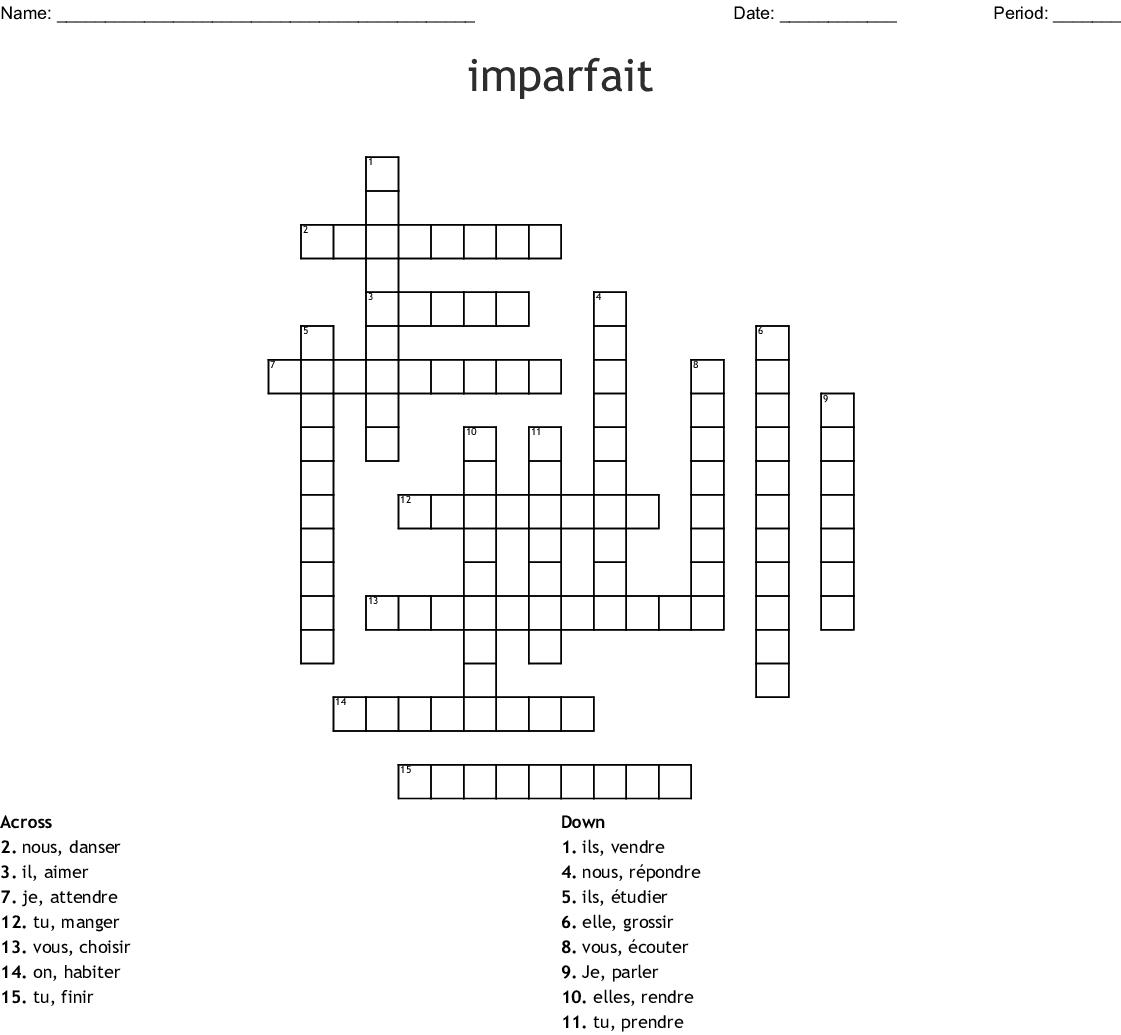 Imparfait Crossword