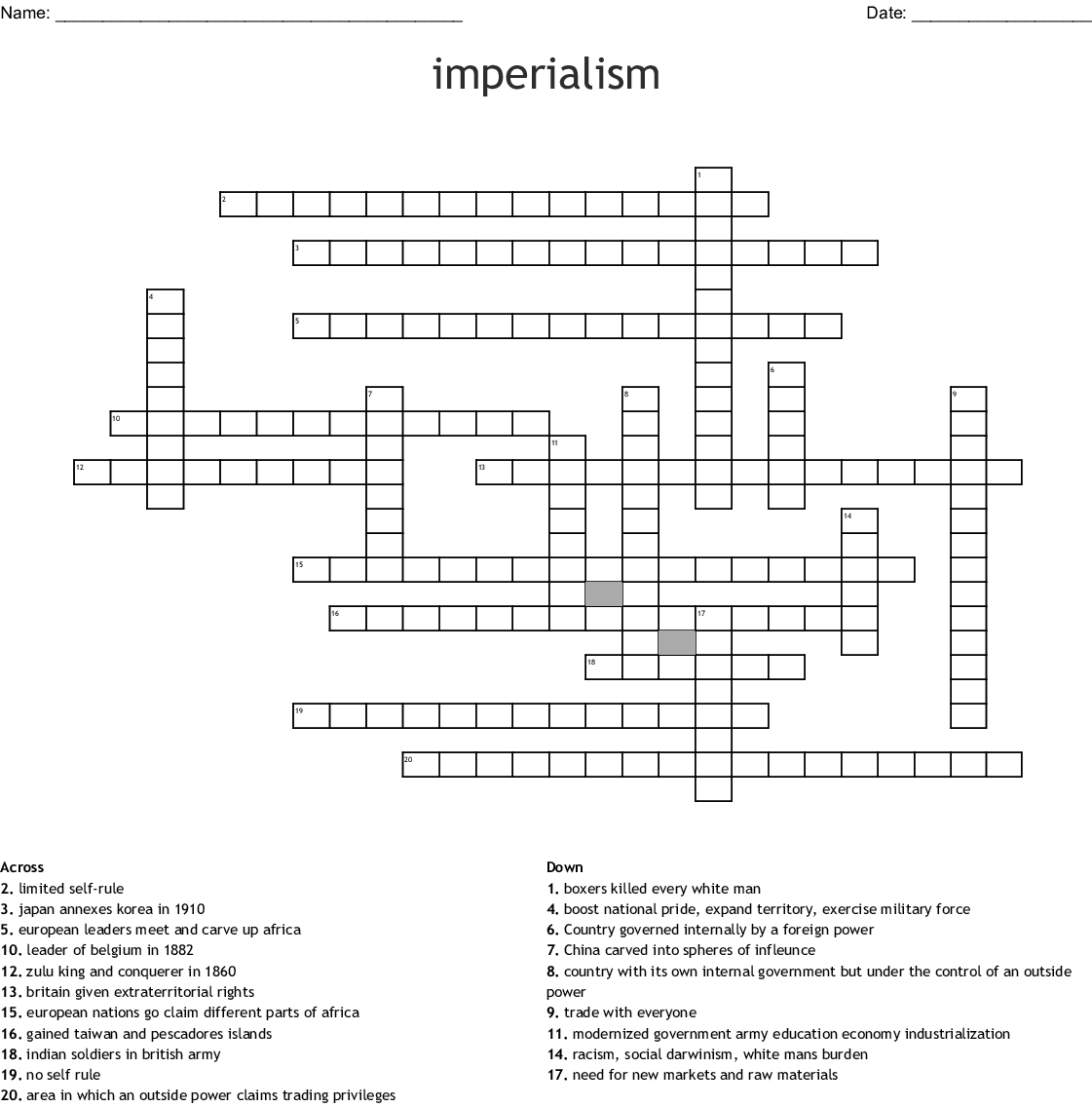 Imperialism Crossword