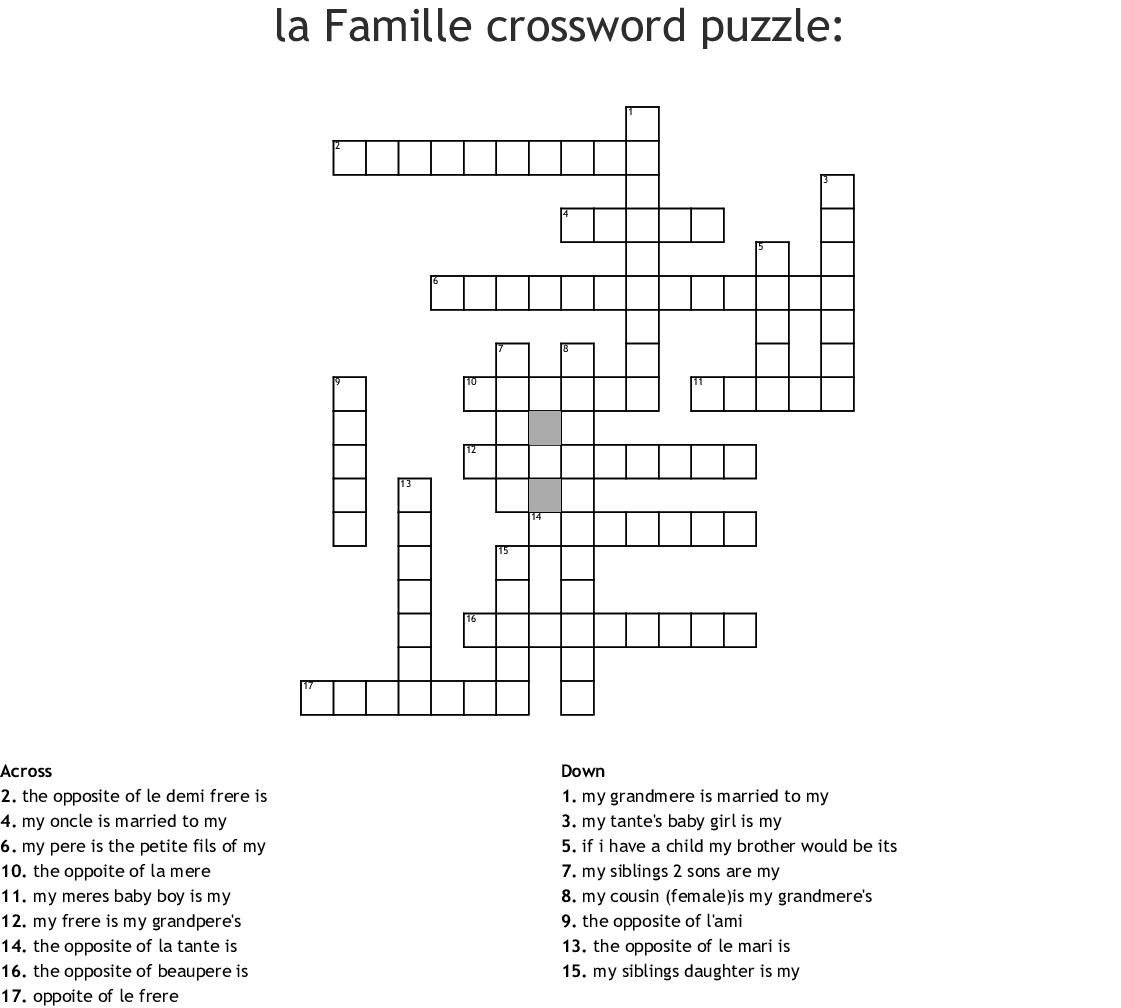 Le Vocabulaire De La Famille Word Search