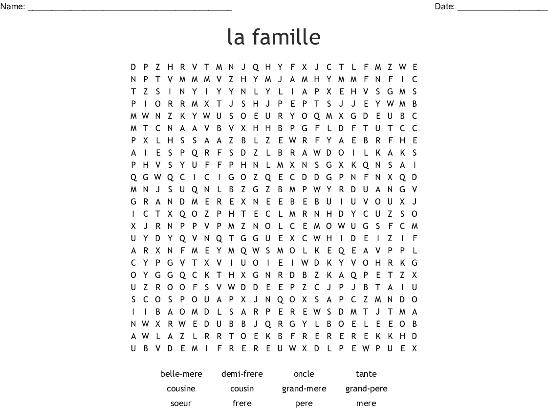 La Famille Word Search