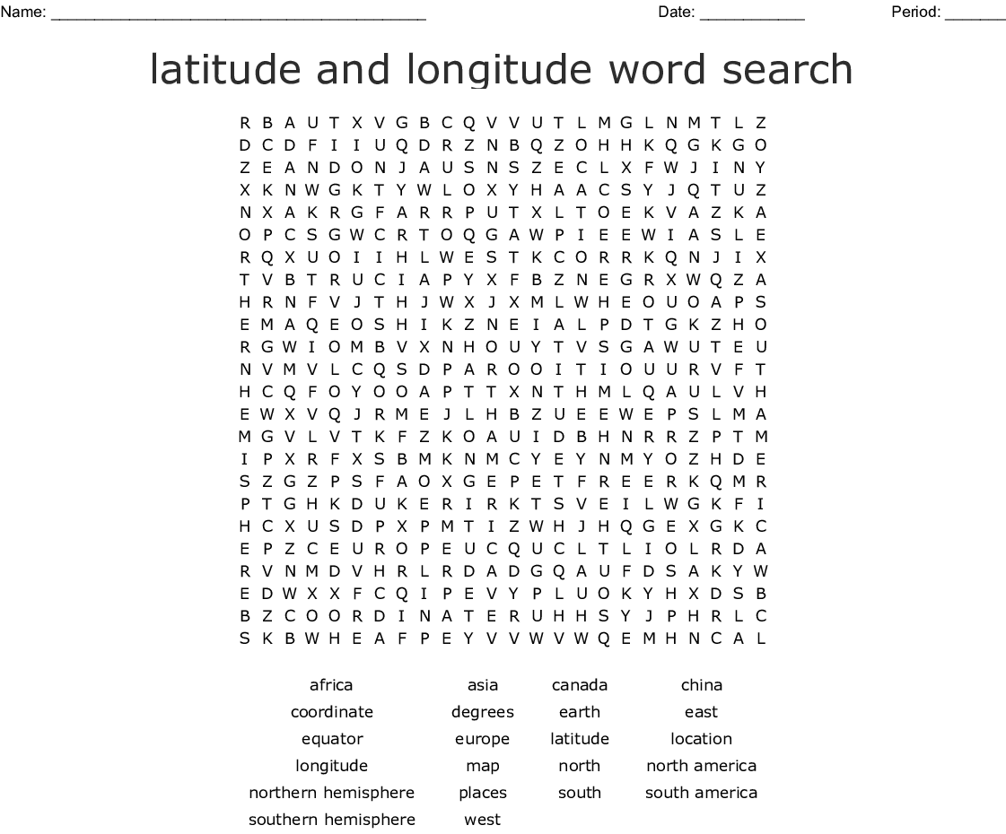 Latitude And Longitude Word Search