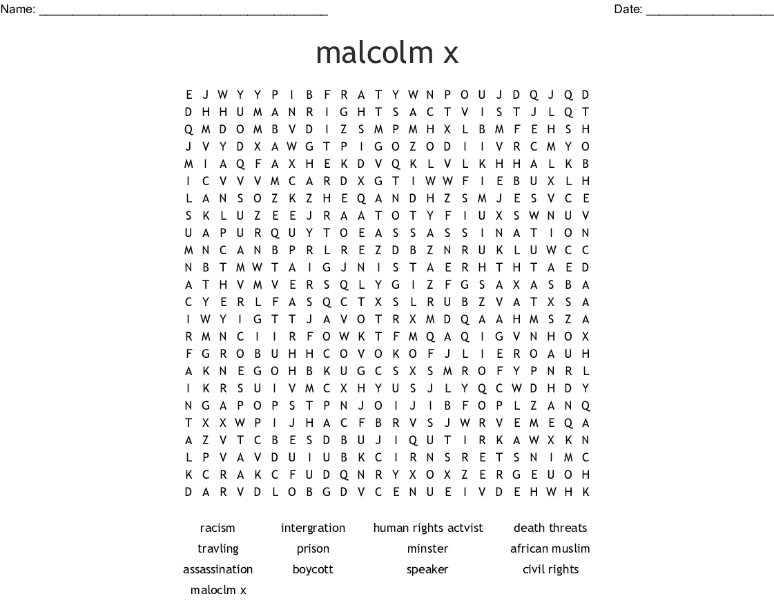 Malcolm X Word Search