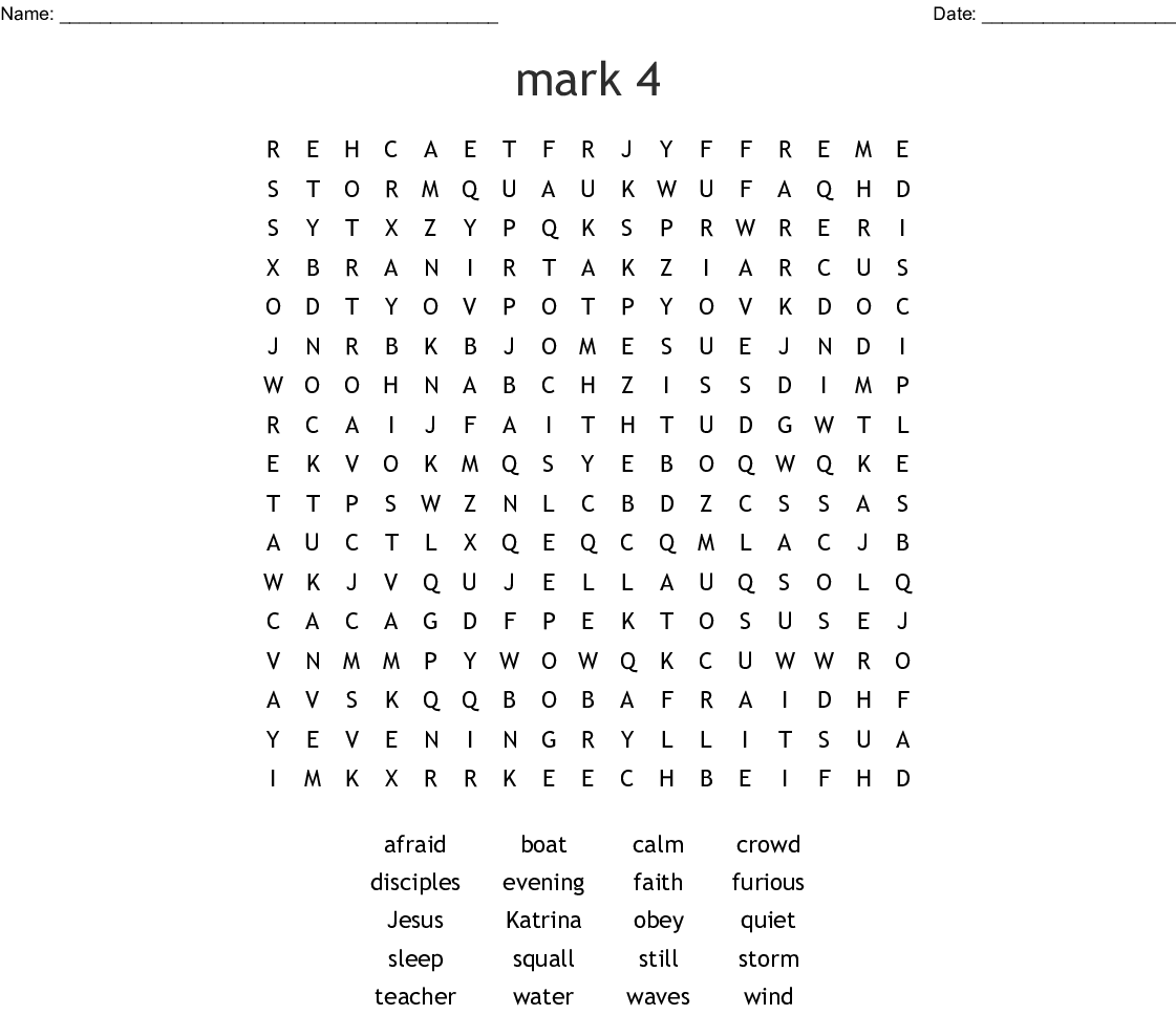 Jesus Walks On Water Word Search