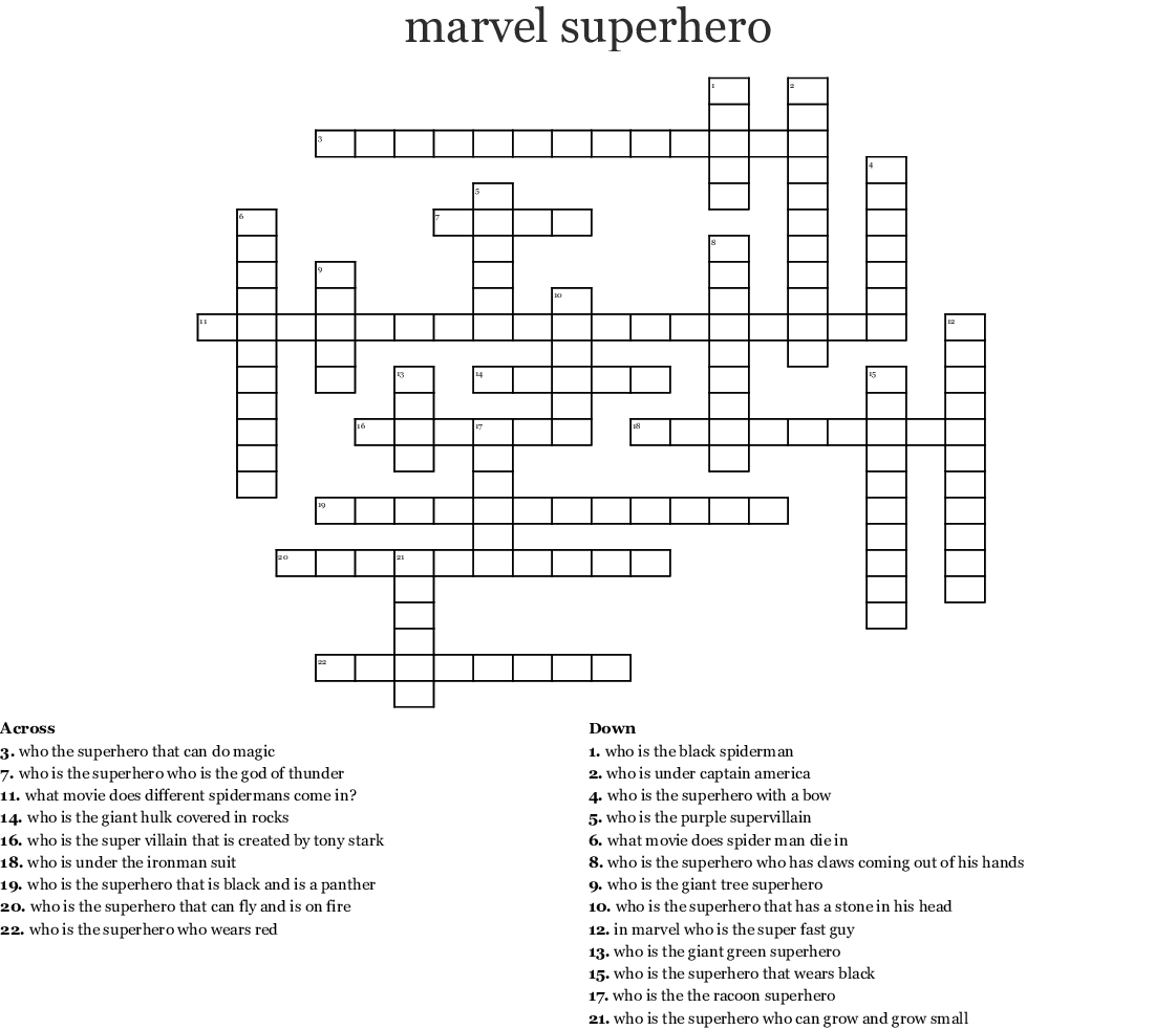 Top Superhero Crossword Puzzles Printable