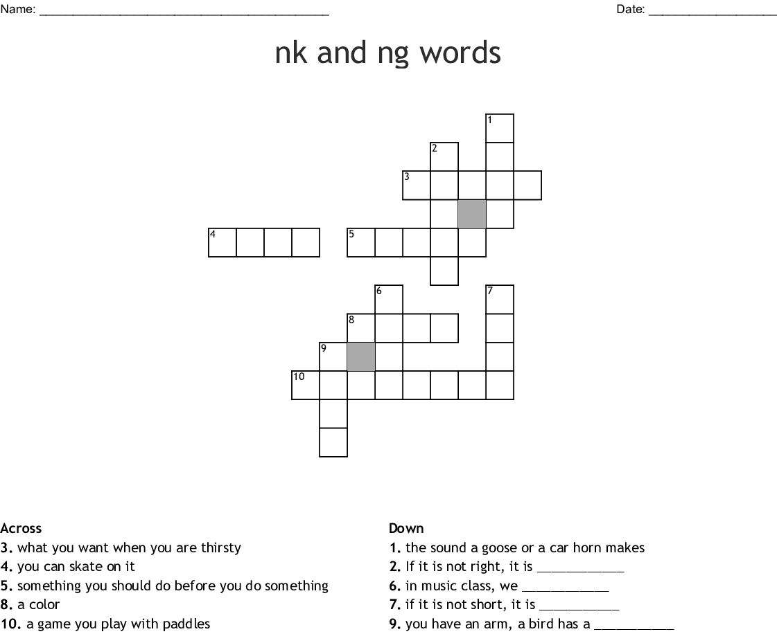 Nk And Ng Words Crossword