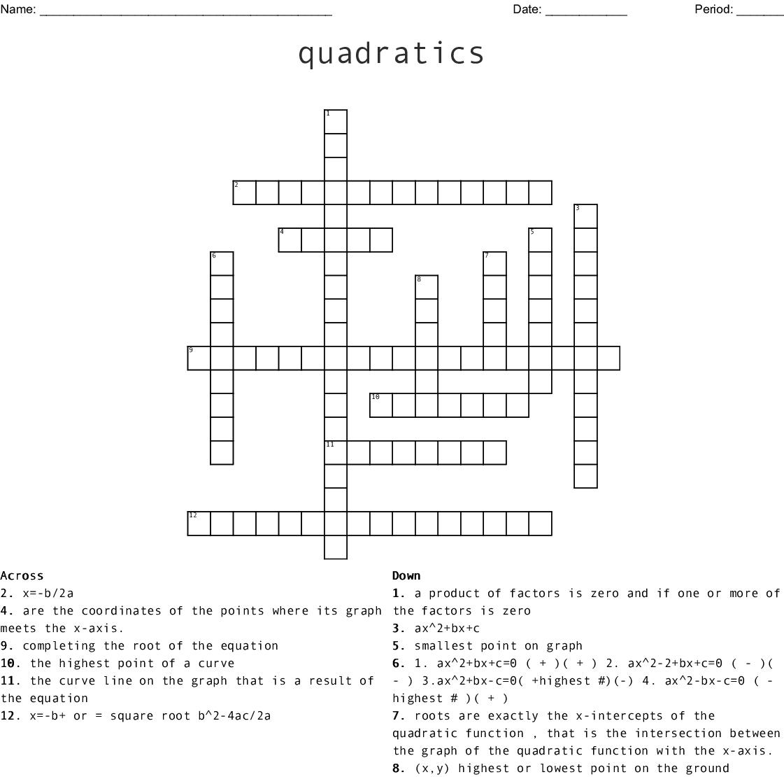 Quadratics Crossword
