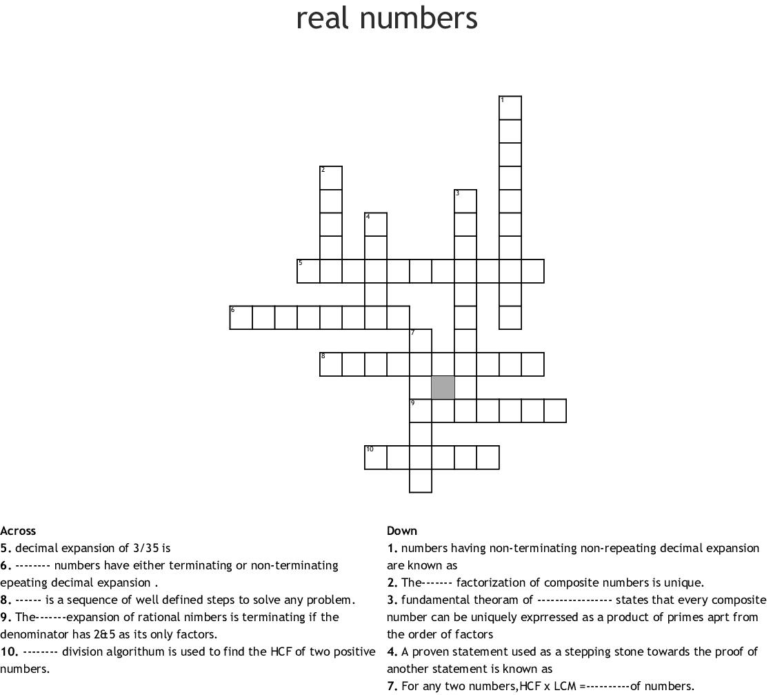 Prime Factorization Gcf Lcm Crossword