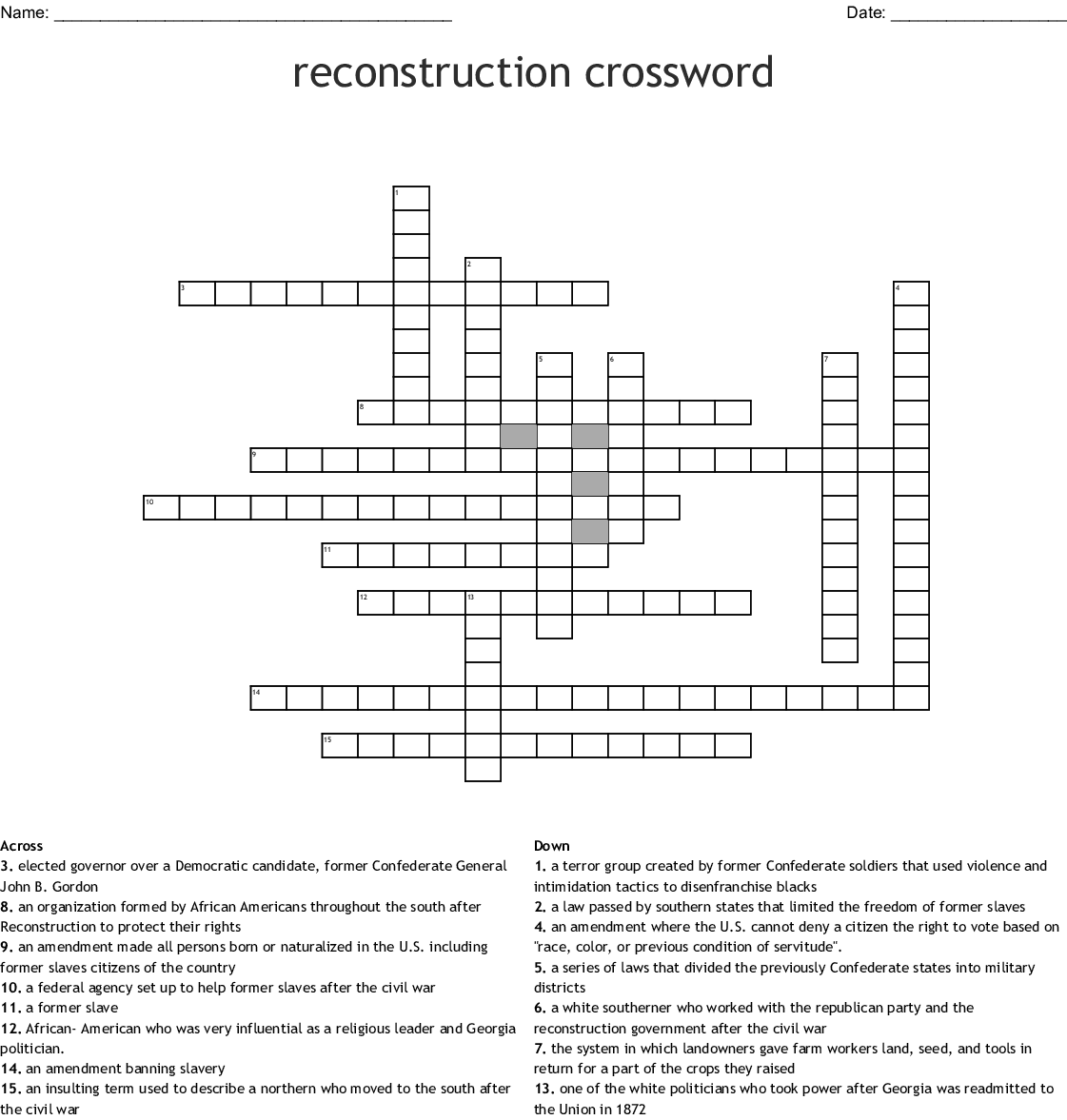 Reconstruction Crossword