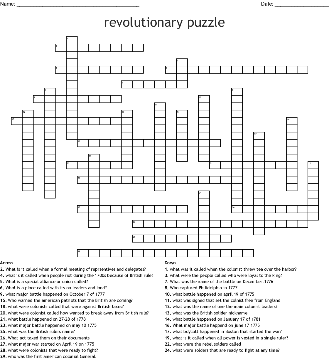 Battles Of The Revolutionary War Word Search