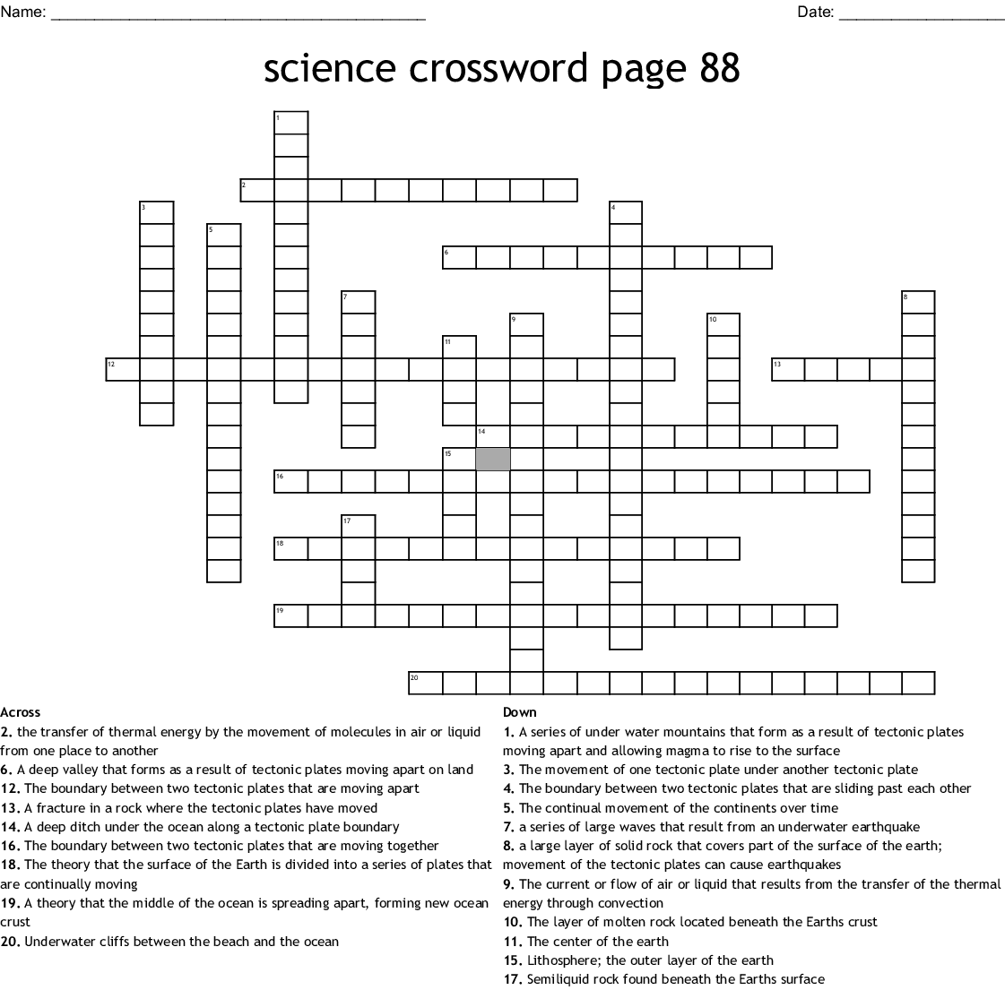 Science Crossword Page 88