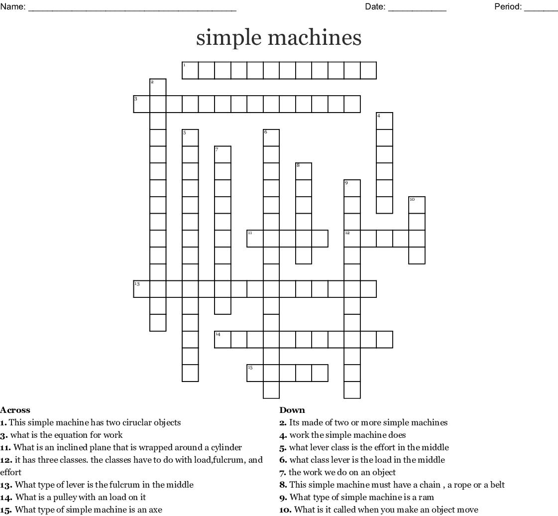 Simple Machines Crossword