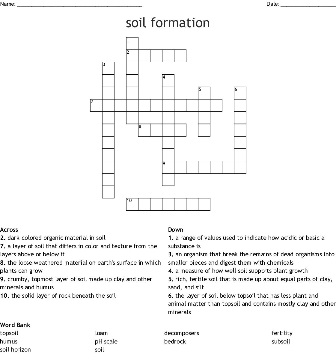 Soil Formation Crossword