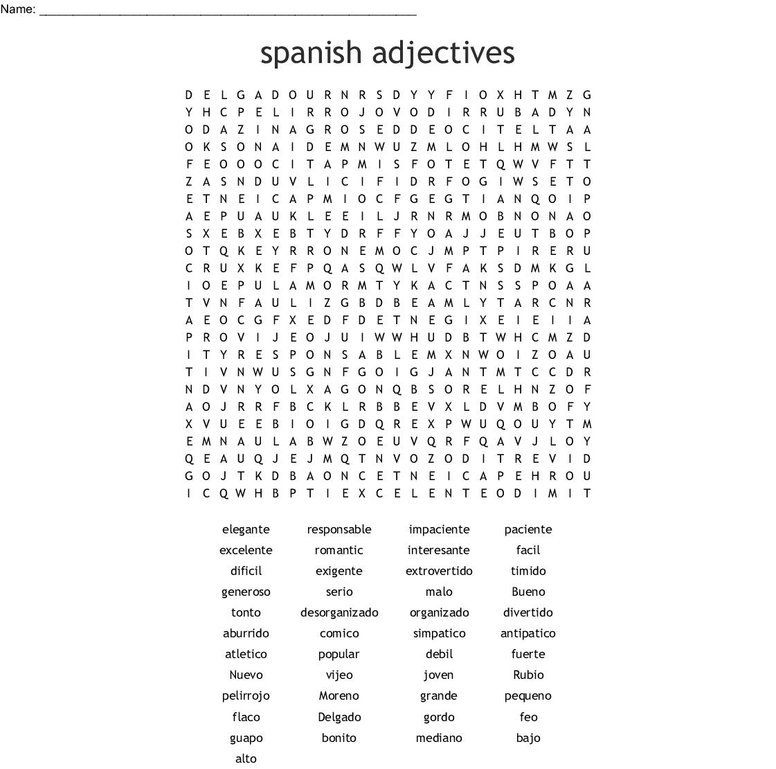 Free Printable Large Print Free Printable Spanish Word
