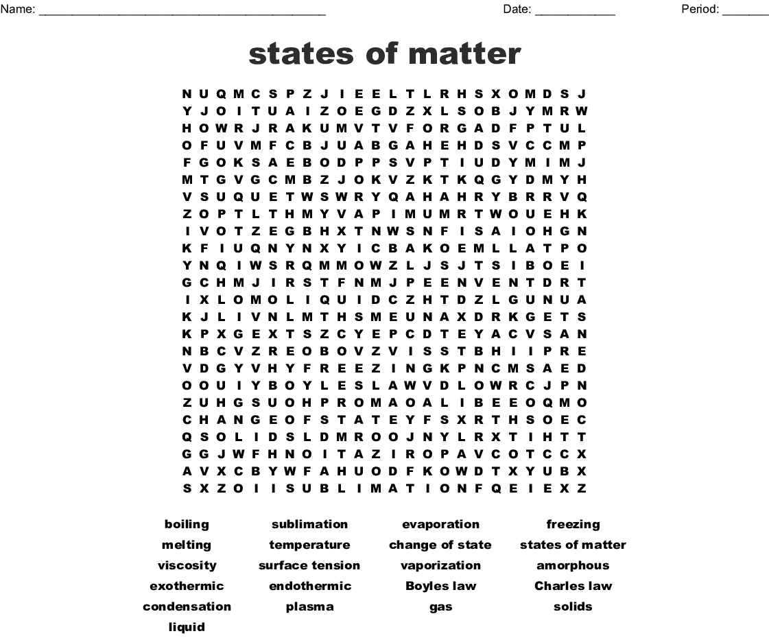 Phase Changes Of Matter Word Search