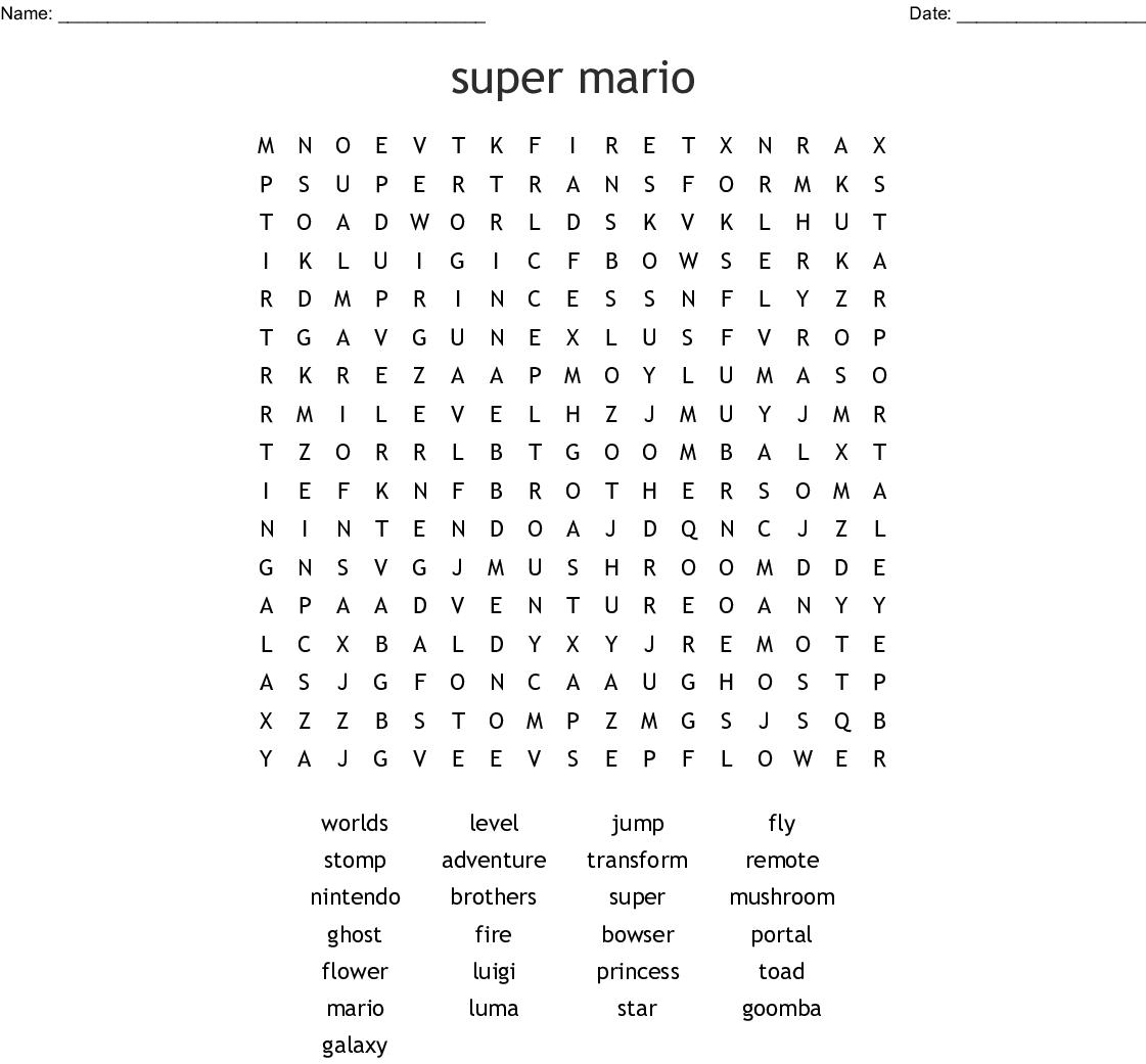 Super Mario Word Search