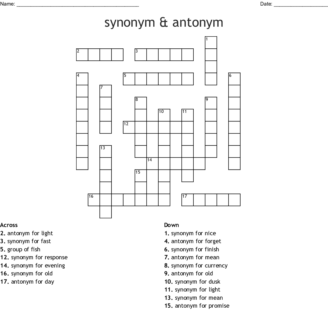 Synonyms And Antonyms Crossword