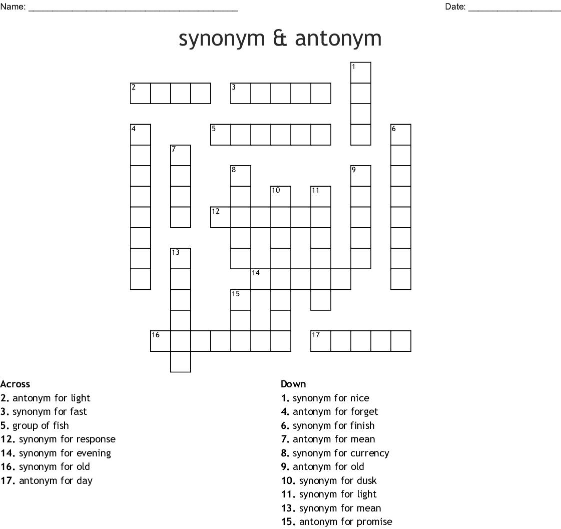 Synonym Worksheet Year 6