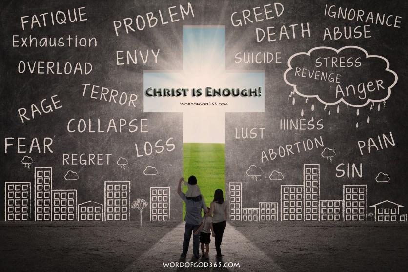 Christian Family Walks Towards Cross
