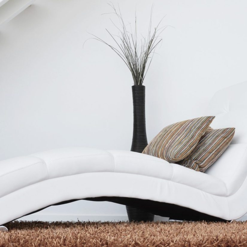 white lounger with brown rug and cushions