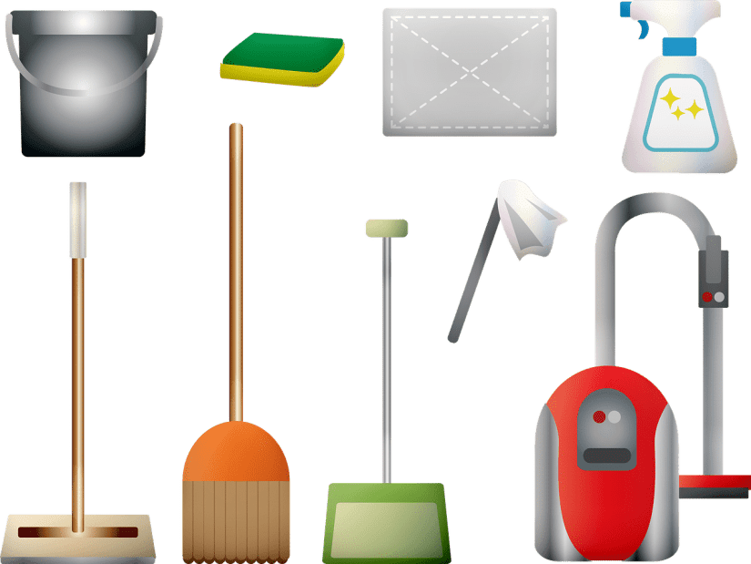 vector of cleaning supplies