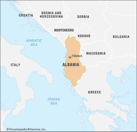 praying for Albania: map