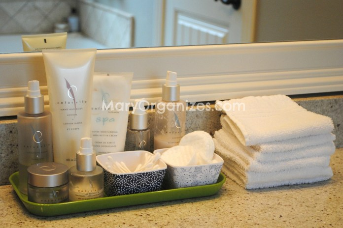 organized bathroom counter