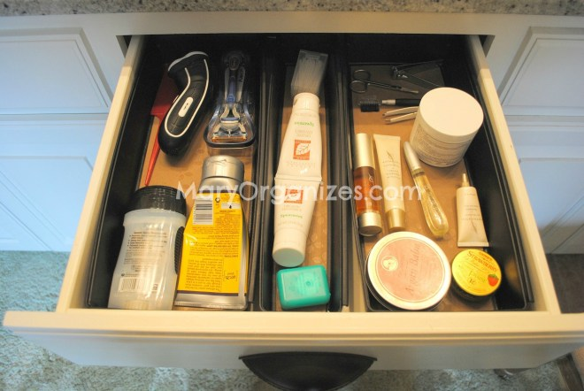 top drawer bathroom organizing