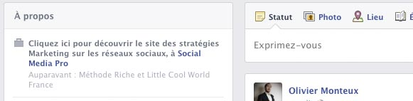 La section A propos facebook