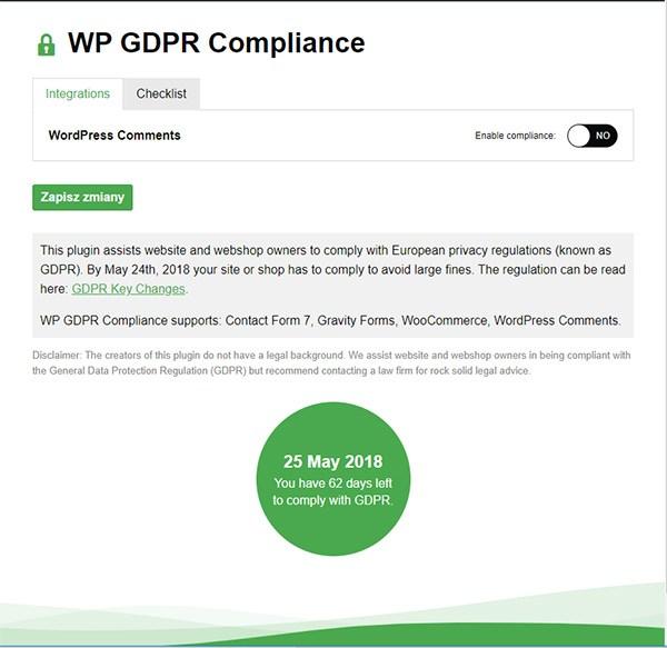 nieskonfigurowana wtyczka WP GDPR Compliance