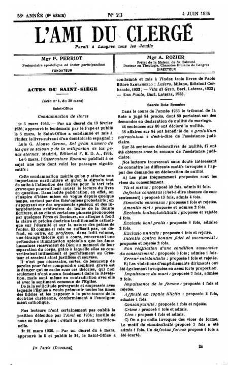 L'ami Du Clergé, 4 juin 1936