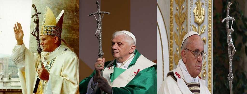 Trois antipapes avec la croix tordue de Paul 6