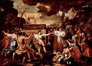 L'adoration du veau d'or par Nicolas Poussin