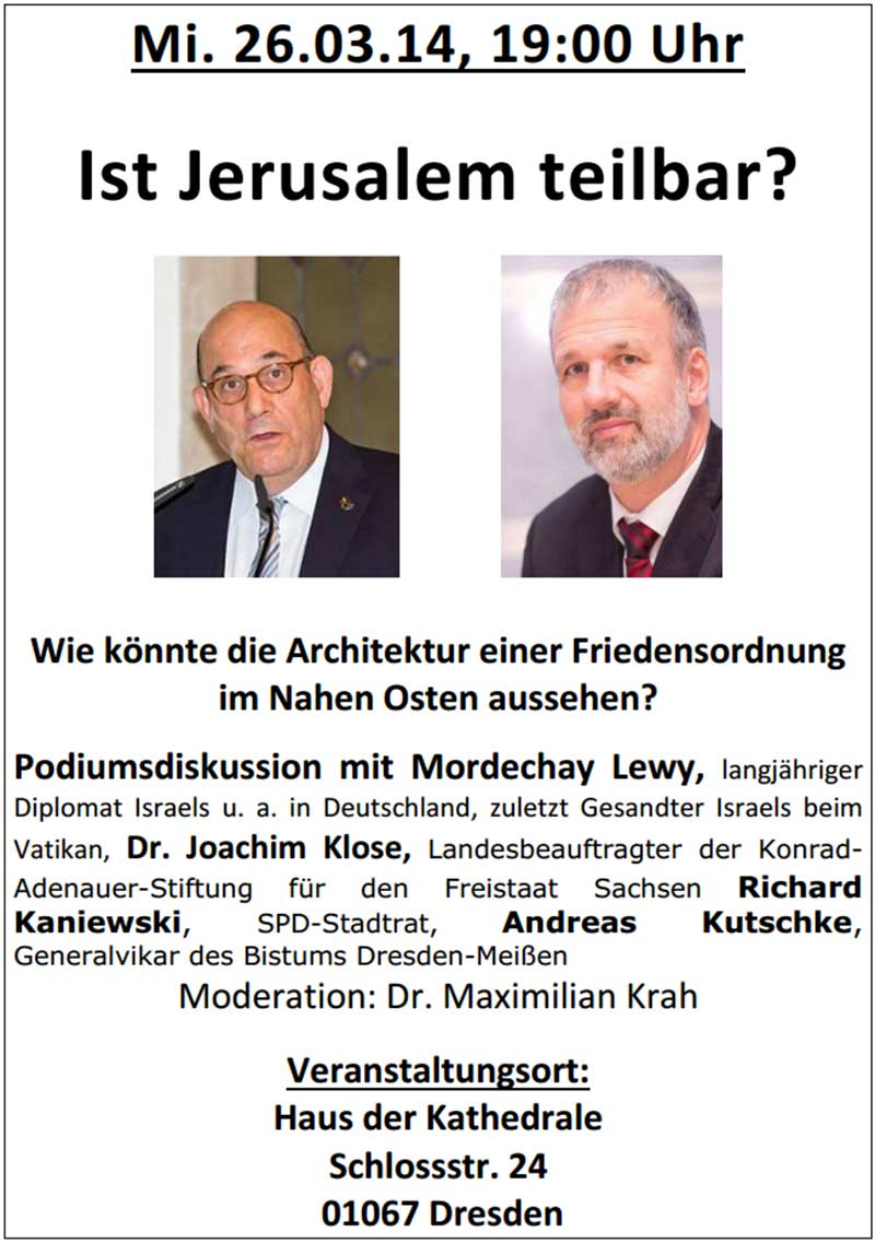 """L'invitation à la conférence """"Jérusalem est elle partageable"""""""