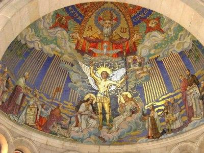 Mosaïque de l'abside de la Basilique nationale Sainte-Jehanne d'Arc du Bois-Chenu à Domrémy