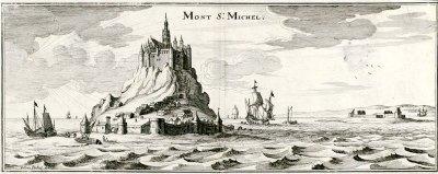 Le mont Saint-Michel, gravure de Matthäus Merian, 1657.