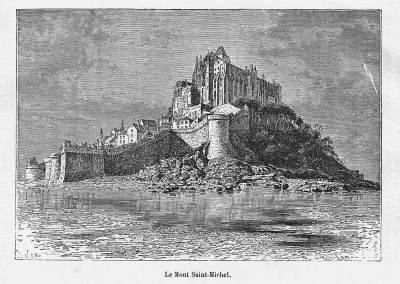 Le mont Saint-Michel, gravure de 1884.
