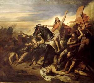 Batalla de Tolbiac en 496 pintado por Ary Scheffer (1.795 hasta 1.858 mil).  Versalles, Museo Nacional del Castillo y Trianons.