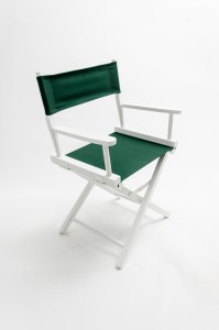 """18"""" Contemporary Series Chair - White with Hunter Green Canvas"""