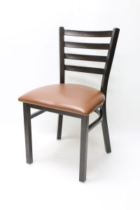 7800 Series - Metal Ladderback in Pennyvein Finish with Upholstered Seat