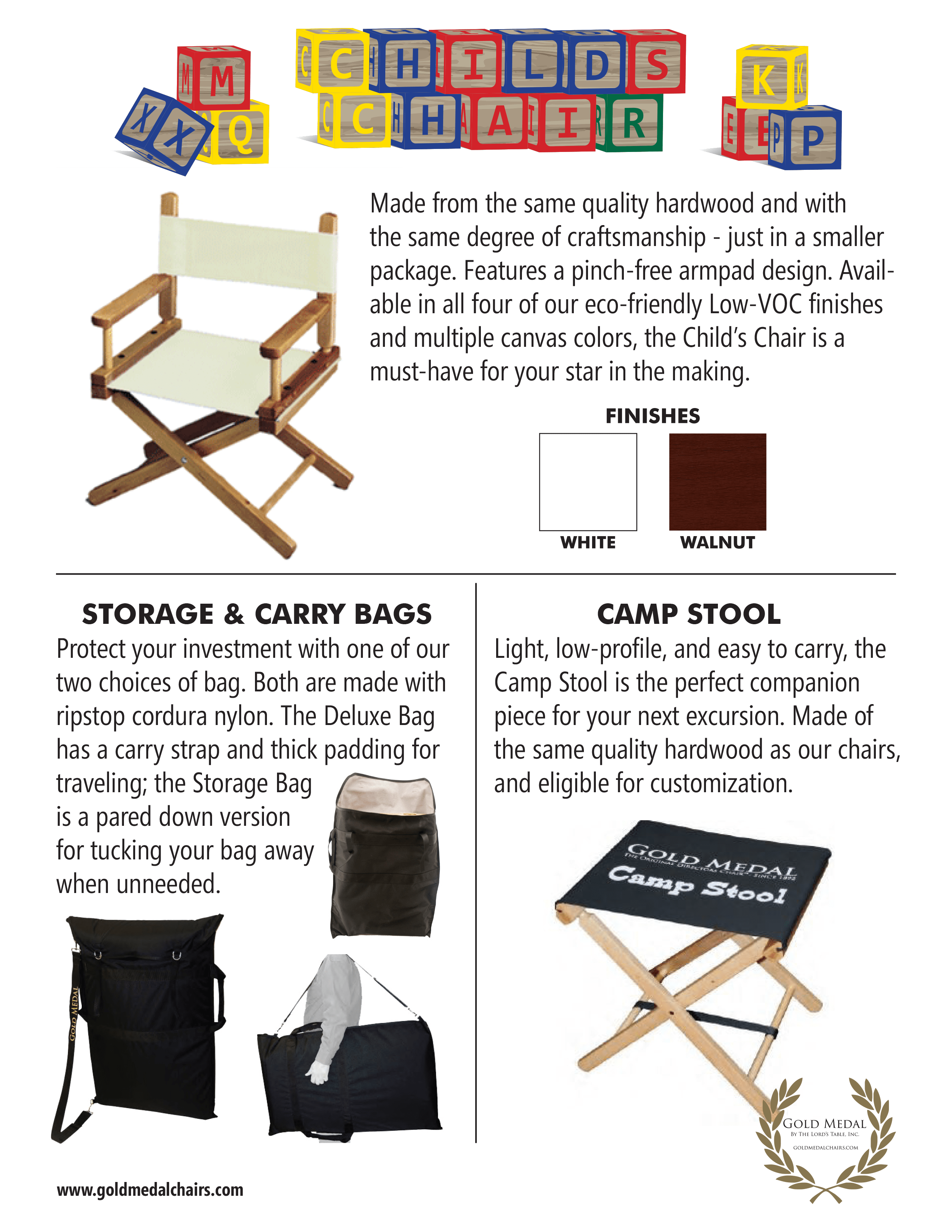 Gold Medal Director's Chair Catalog Childs Chair page for site