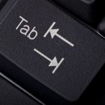 the tab key on the keyboard