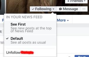 Unfollow a friend in their Facebook profile