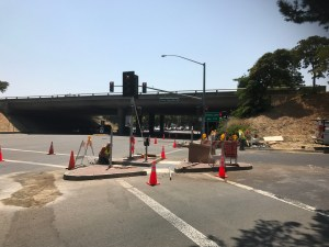 Workmen Doing Something at Central Expressway Off Ramp and Wolfe (Aug. 18, 2017)