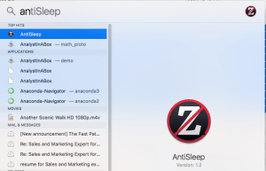 Launching AntiSleep from Spotlight on Mac OS X 10.12.6