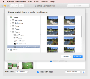Choose Photos Album as Slideshow in Screen Saver